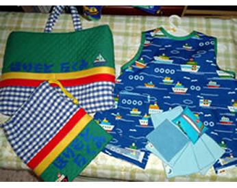 通園グッズとベビーグッズの余り布で作ったハンカチ