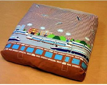 新幹線の生地で作った座布団