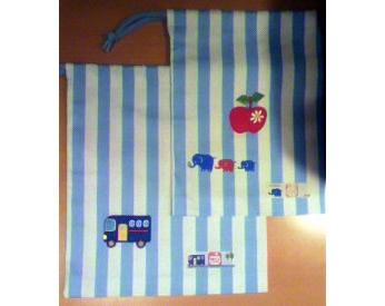 子供が選んだ生地で作った巾着袋