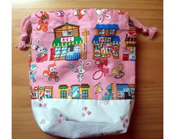 可愛いアニマル生地で作った巾着袋