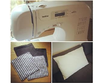 十数年ぶりのミシンで作った枕カバー