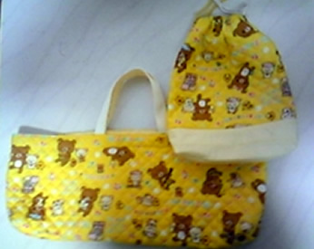 りらっくまの生地でつくった子供用の袋です