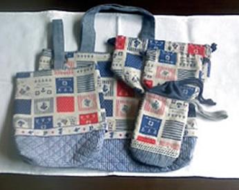 マリンテイストの生地を使った絵本バック、上靴袋、弁当袋、お着替え袋