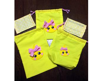 黄色とほっぺちゃんが大好きな孫のリクエストで作った巾着袋&マスク