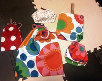 娘の幼稚園用に作った巾着袋や上履き入れ!